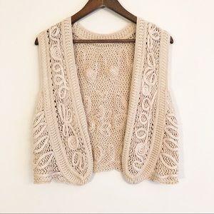 Tops - Boho chic beige cardigan vest